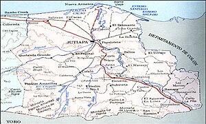 Español: Mapa del municipio de jutiapa
