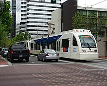 MAX Green Line train on 6th 2 - Portland, Oregon.JPG