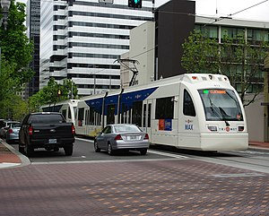 MAX Green Line - A Green Line train along SW 6th Avenue in Downtown Portland