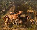 MGS, Anton Braith, Jungvieh und Ziegen in der Landschaft, im Hintergrund eine Blaskapelle vor einem Hochzeitszug, 1865-20160312-001.jpg