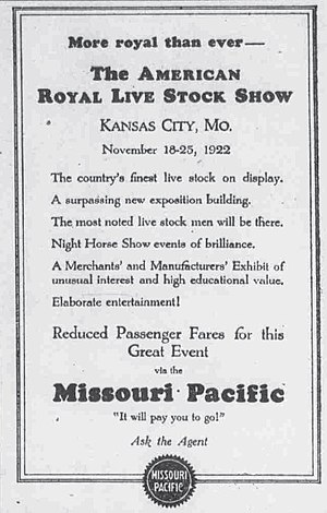 American Royal - Newspaper ad for the 1922 version of the Royal.