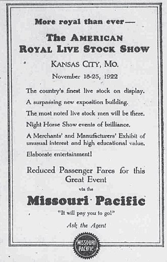 MoPac newspaper ad for travel to the American Royal livestock show, 1922. MOPAC Livestock show 1922.jpg