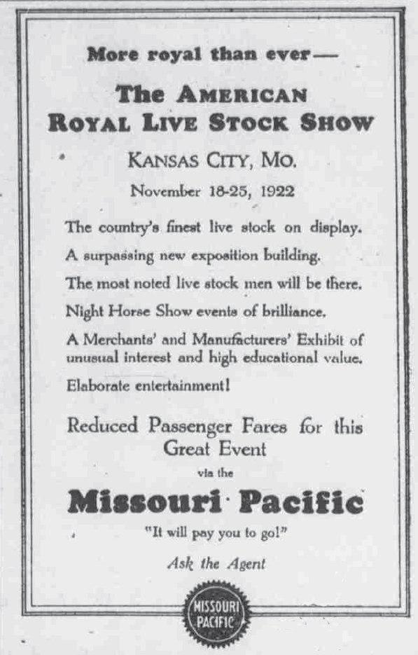 MOPAC Livestock show 1922