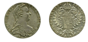 Maria Theresa thaler. London Mint (Hafner 63).