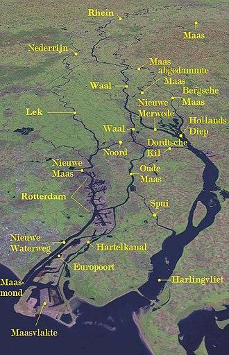 Distributary - Satellite image of part of the Rhine–Meuse–Scheldt delta
