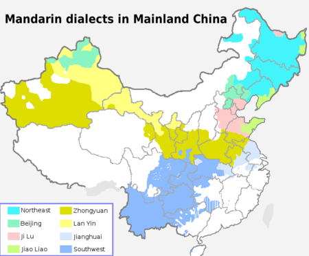 The eight main dialect areas of Mandarin in Mainland China Madarin in Chinese Mainland EN.PNG