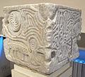Maestranza lucchese, capitello-acquasantiera con volti, animali e simboli, VII-IX sec, da ss. martino e giusto, gello di camaiore (LU) 03.JPG