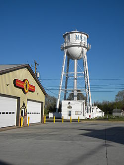 Magnolia Fire Company, with Town Hall and water tower in background