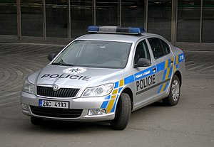 Law enforcement in the Czech Republic - Image: Main railway station Praha, Skoda Czech republic policie