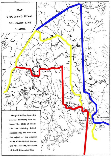 Map depicting the northeast boundary dispute; the British claim is marked in red, the American in blue, and the final negotiated line in yellow. MaineBoundaryDispute.jpg