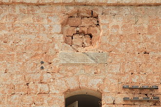 Aħrax Tower - Commemorative plaque and missing escutcheon