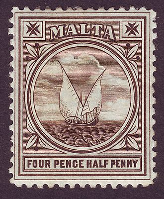 Postage stamps and postal history of Malta - An 1899 stamp showing a Gozo boat