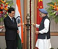Manmohan Singh with the President of the People's Republic of China, Mr. Hu Jintao lighting the traditional lamp to launch the India-China year of friendship & cooperation, in New Delhi on March 29, 2012.jpg
