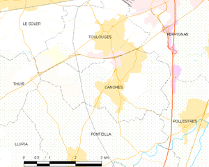 Canohès - Map of Canohès and its surrounding communes