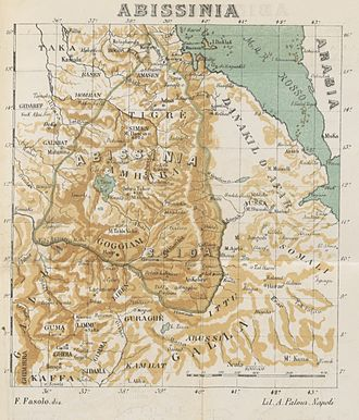 Oromo people - An 1887 map by Francesco Faselo showing Galla (lower right).