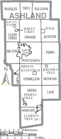 Map of Ashland County, Ohio With Municipal and Township Labels