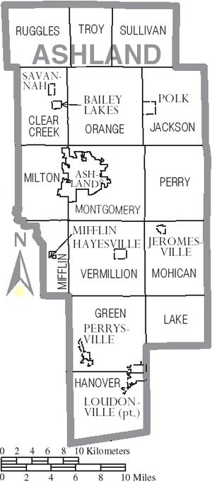 Ashland County, Ohio - Map of Ashland County, Ohio with municipal and township labels