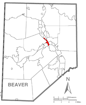 Map of Bridgewater, Beaver County, Pennsylvania Highlighted.png