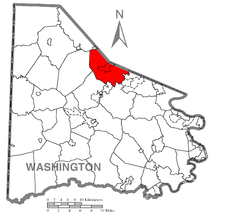 Map of Washington County, Pennsylvania highlighting Cecil Township