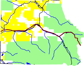 Eagle County, Colorado - A map of Eagle County.  Green is White River National Forest, yellow is Bureau of Land Management land.  The reddish line from east to west is Interstate 70, running along Eagle River.