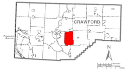 Location of East Mead Township in Crawford County