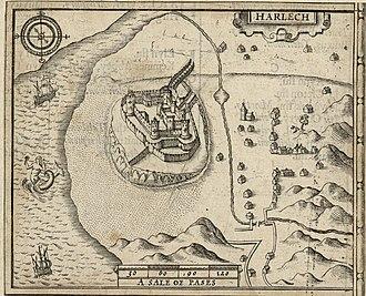 Harlech - 18th Century map of Harlech