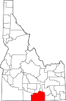 Map of Idaho highlighting Cassia County