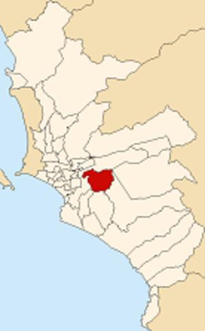 La Molina District - Image: Map of Lima highlighting La Molina