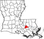 State map highlighting Ascension Parish