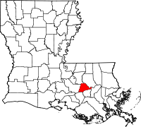 Locatie van Ascension Parish in Louisiana