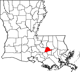 Koort vun Ascension Parish