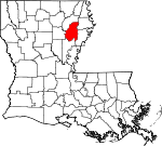 State map highlighting Franklin Parish