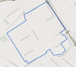 Mar Vista, Los Angeles - Image: Map of Mar Vista neighborhood, Los Angeles, California