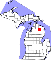 Map of Michigan highlighting Montmorency County