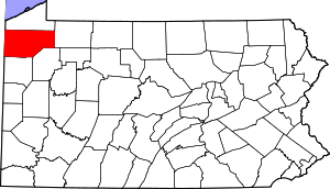 Map of Pennsylvania highlighting Crawford County