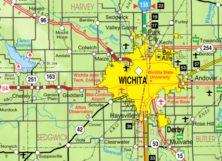 2005 Kansas Department of Transportation map of Sedgwick County showing Wichita and surrounding communities (map legend) - Wichita, Kansas