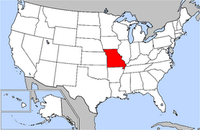Map of USA highlighting Missouri