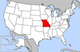 Map of the United States with Missouri highlighted