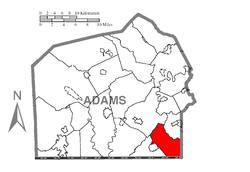 Map of Adams County, Pennsylvania highlighting Union Township