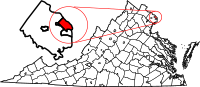 Map of Virginia highlighting Arlington County
