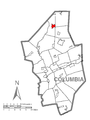 Map of Waller Township, Columbia County, Pennsylvania Highlighted.png
