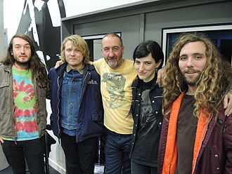 Marc Riley - Riley (centre) with Ty Segall in November 2014