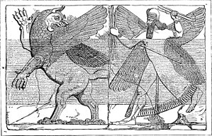 Marduk's battle with Anzu. Assyrian relief Deu...