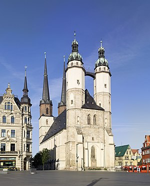 Friedrich Wilhelm Zachow - Market Church in Halle (Saale), seen from the Market Square