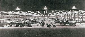 Dobbins Air Reserve Base - B-29s on the night production line at Bell Aircraft, Atlanta, 1944
