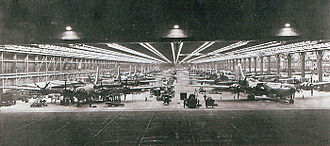 Dobbins Air Reserve Base - B-29s on the night production line at Bell Aircraft, Atlanta, 1944
