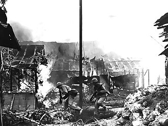 Saipan - Marine infantrymen in Garapan, Saipan