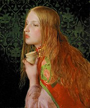 Mary Magdalene is commonly portrayed with long red hair, as in this picture by Anthony Frederick Augustus Sandys.