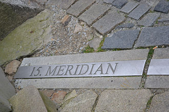 15th meridian east - Mark of the 15th meridian in the pavement in Jindřichův Hradec, Czech Republic