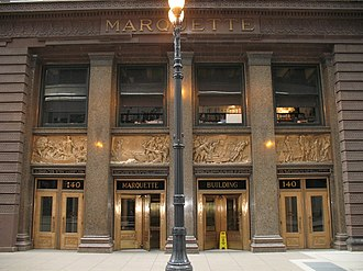 Hermon Atkins MacNeil - Image: Marquette Building exterior entry detail Chicago Illinois